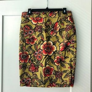 Loft Work Skirt with Floral Pattern